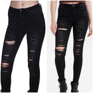 American Eagle Hi Rise Jegging Distressed Ripped 4